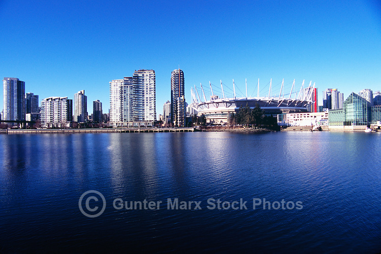 Vancouver Skyline, BC, British Columbia, Canada - BC Place Stadium (New Retractable Roof completed in 2011), and Residential High Rise Condominium Buildings at False Creek
