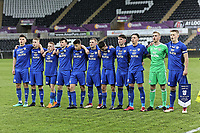 Pictured: Cardiff players line up before kick off. Tuesday 01 May 2018<br /> Re: Swansea U19 v Cardiff U19 FAW Youth Cup Final at the Liberty Stadium, Swansea, Wales, UK