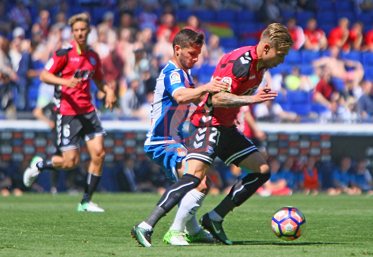 League Santander 2016/2017. Game: 31.<br /> RCD Espanyol vs Deportivo Alaves: 1-0.<br /> Pablo Piatti vs Kiko Femenia.
