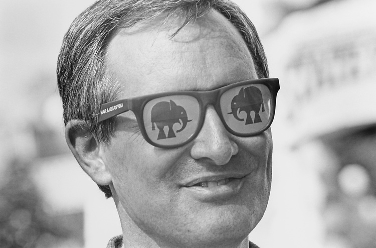 Close-up of Rep. Mike Crapo, R-Idaho, tries on some GOP shades while in San Diego for the GOP Convention in 1996. (Photo by Maureen Keating/CQ Roll Call via Getty Images)