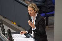 """Sitzung des Deutschen Bundestag am Mittwoch den 4. Maerz 2020.<br /> Im Bild: Alice Weidel, Fraktionsvorsitzende der rechtsradikalen """"Alternative fuer Deutschland"""" spricht zur Regierungserklaerung zum Thema Coronavirus.<br /> 4.3.2020, Berlin<br /> Copyright: Christian-Ditsch.de<br /> [NUR FUER REDAKTIONELLE ZWECKE! Werbung nur auf Anfrage beim Fotografen. Inhaltsveraendernde Manipulation des Fotos nur nach ausdruecklicher Genehmigung des Fotografen. Vereinbarungen ueber Abtretung von Persoenlichkeitsrechten/Model Release der abgebildeten Person/Personen liegen nicht vor. NO MODEL RELEASE! Don't publish without copyright Christian-Ditsch.de, Veroeffentlichung nur mit Fotografennennung, sowie gegen Honorar, MwSt. und Beleg. Konto: I N G - D i B a, IBAN DE58500105175400192269, BIC INGDDEFFXXX, Kontakt: post@christian-ditsch.de<br /> Bei der Bearbeitung der Dateiinformationen darf die Urheberkennzeichnung in den EXIF- und  IPTC-Daten nicht entfernt werden, diese sind in digitalen Medien nach §95c UrhG rechtlich geschuetzt. Der Urhebervermerk wird gemaess §13 UrhG verlangt.]"""