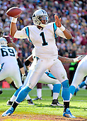 Carolina Panthers quarterback Cam Newton (1) looks to pass in the second quarter against the Washington Redskins at FedEx Field in Landover, Maryland on Sunday, November 4, 2012..Credit: Ron Sachs / CNP