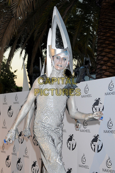 ATMOSPHERE .At the Nakheel Introduction of The Trump International Hotel & Tower Dubai held at The Tar Estate in Bel Air, California on August 23rd 2008.     .silver stilts costume hat walking entertainer .CAP/ADM/BP.©Byron Purvis/Admedia/Capital PIctures