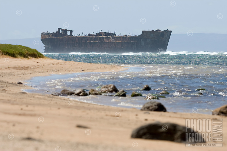 """Lanai's ghostly shipwreck viewed from the properly named, """"""""Shipwreck Beach"""