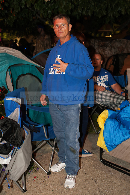 Dallas Hoskins poses for a photo during Big Blue Madness campout in Lexington, Ky.,on Wednesday, September 17, 2014. Hoskins was first in line for the 4th consecutive year. Photo by Michael Reaves | Staff