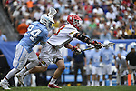 30 MAY 2016: Stephen Kelly (24) of the University of North Carolina with the face off against Austin Henningsen (18) of the University of Maryland during the Division I Men's Lacrosse Championship held at Lincoln Financial Field in Philadelphia, PA. Larry French/NCAA Photos