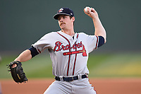 Starting pitcher Bruce Zimmermann (28) of the Rome Braves delivers a pitch in a game against the Greenville Drive on Thursday, April 12, 2018, at Fluor Field at the West End in Greenville, South Carolina. Greenville won, 14-4. (Tom Priddy/Four Seam Images)