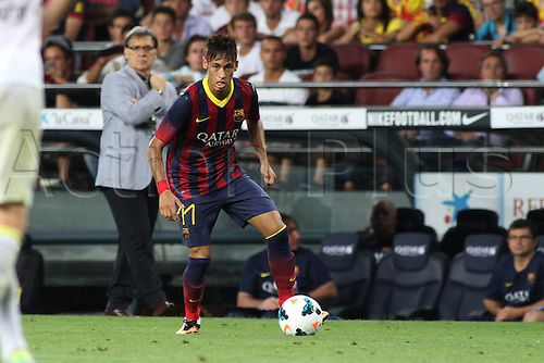 02.08.2013 Barcelona, SpainNeymar  in action during the friendly match in the nou Camp