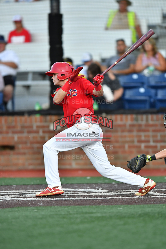 Johnson City Cardinals Mateo Gil (23) swings at a pitch during game two of the Appalachian League, West Division Playoffs against the Bristol Pirates at TVA Credit Union Ballpark on August 31, 2019 in Johnson City, Tennessee. The Cardinals defeated the Pirates 7-4 to even the series at 1-1. (Tony Farlow/Four Seam Images)