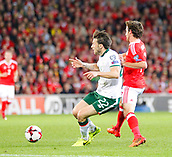 9th October 2017, Cardiff City Stadium, Cardiff, Wales; FIFA World Cup Qualification, Wales versus Republic of Ireland; Harry Arter (Republic of Ireland) blocks Joe Allen (Wales)