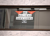 Signs in the window of an unidentified United States Senator's office that overlooks the Atrium in the Hart Senate Office Building where many of the anti-Kavanagh protests were held earlier in the week in Washington, DC on Saturday, October 6, 2018. <br /> Credit: Ron Sachs / CNP<br /> RESTRICTION: NO New York or New Jersey Newspapers or newspapers within a 75 mile radius of New York City)