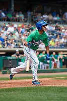 Hartford Yard Goats center fielder Omar Carrizales (19) runs to first base during a game against the Trenton Thunder on August 26, 2018 at Dunkin' Donuts Park in Hartford, Connecticut.  Trenton defeated Hartford 8-3.  (Mike Janes/Four Seam Images)