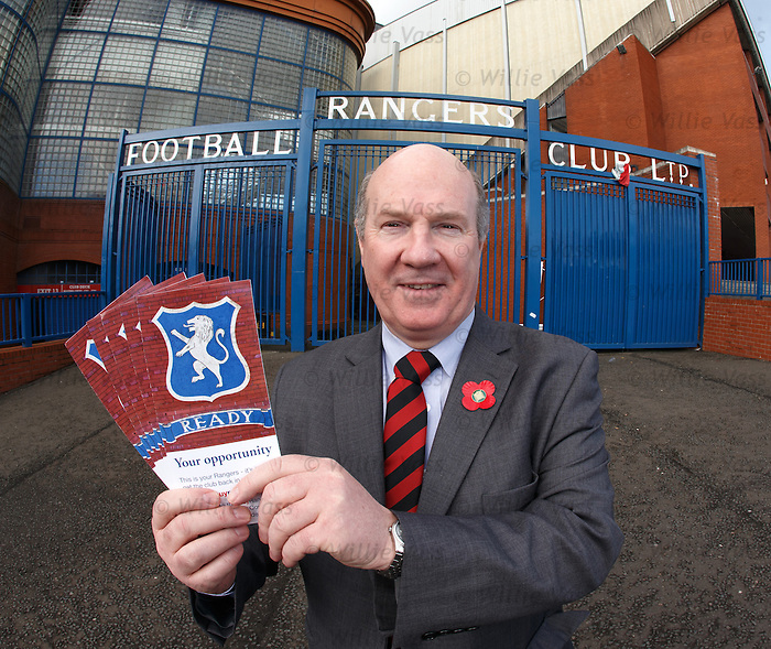 Ian Davidson MP outside Ibrox Stadium this morning for the launch of the Buy Rangers Campaign encouraging supporters to join together to buy a combined stake in the club.