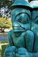 Three Watchman bronze Haida sculpture by Jim Hart, Vancouver, BC, Canada          .