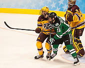 Justin Holl (MN - 12), Mark MacMillan (North Dakota - 16), Adam Wilcox (MN - 32) - The University of Minnesota Golden Gophers defeated the University of North Dakota 2-1 on Thursday, April 10, 2014, at the Wells Fargo Center in Philadelphia to advance to the Frozen Four final.