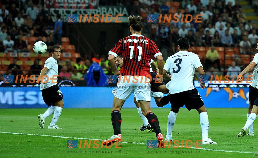 "il gol di Antonio CASSANO (Milan) goal celebration.Milano 9/9/2011 Stadio ""Giuseppe Meazza"".Serie A 2011/2012.Football Calcio Milan Vs Lazio.Foto Insidefoto Alessandro Sabattini."