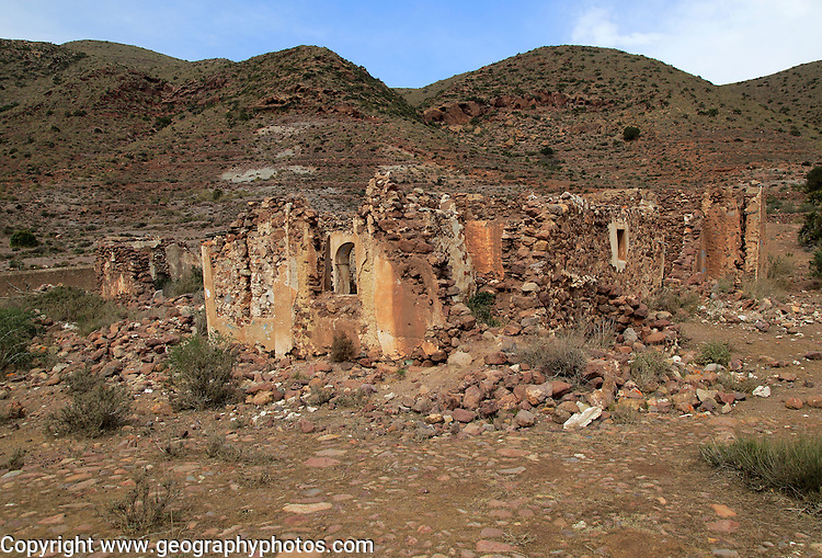 Abandoned farmhouse building near Presillas Bajas, Cabo de Gata national park, Almeria, Spain