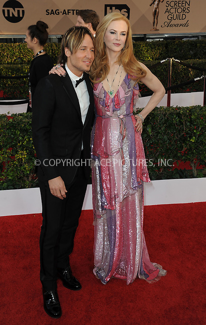 WWW.ACEPIXS.COM<br /> <br /> January 30 2016, LA<br /> <br /> Nicole Kidman and Keith Urban arriving at the 22nd Annual Screen Actors Guild Awards at the Shrine Auditorium on January 30, 2016 in Los Angeles, California<br /> <br /> By Line: Peter West/ACE Pictures<br /> <br /> <br /> ACE Pictures, Inc.<br /> tel: 646 769 0430<br /> Email: info@acepixs.com<br /> www.acepixs.com