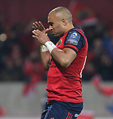 9th December 2017, Thomond Park, Limerick, Ireland; European Rugby Champions Cup, Munster versus Leicester Tigers; Simon Zebo of Munster celebrates after his try