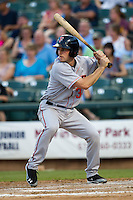 Fresno Grizzlies third baseman Conor Gillaspie #34 at bat during the Pacific Coast League baseball game against the Round Rock Express on May 19, 2012 at The Dell Diamond in Round Rock, Texas. The Grizzlies defeated the Express 10-4. (Andrew Woolley/Four Seam Images)