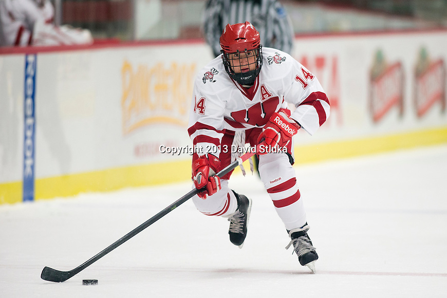 Wisconsin Badgers Madison Packer (14) handles the puck against Team Japan during a women's hockey exhibition in Madison, Wisconsin, on September 23, 2013. The Badgers won 3-0. (Photo by David Stluka)