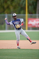 Marquis Jackson (0) during the WWBA World Championship at the Roger Dean Complex on October 10, 2019 in Jupiter, Florida.  Marquis Jackson attends Brother Rice High School in Chicago, IL and is committed to McLennan CC.  (Mike Janes/Four Seam Images)