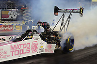 Oct. 26, 2012; Las Vegas, NV, USA: NHRA top fuel dragster driver Antron Brown during qualifying for the Big O Tires Nationals at The Strip in Las Vegas. Mandatory Credit: Mark J. Rebilas-