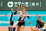 Cristina Chirichella of Italy attacks during the FIVB Volleyball Nations League Hong Kong match between China and Italy on May 31, 2018 in Hong Kong, Hong Kong. Photo by Marcio Rodrigo Machado / Power Sport Images