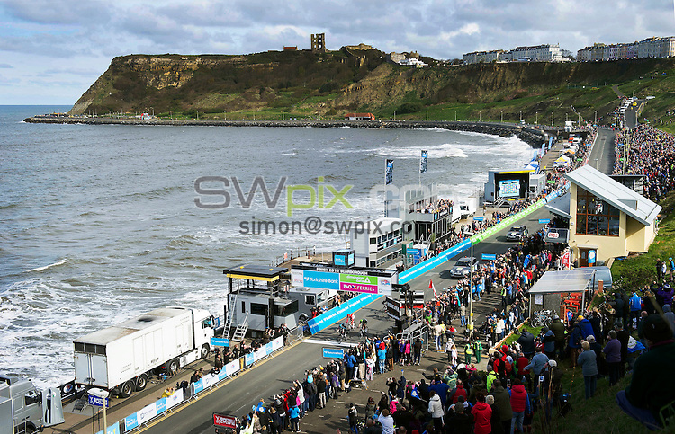 Picture by Simon Wilkinson/SWpix.com - 01/05/2015 - Cycling - 2015 Tour de Yorkshire: Stage 1, Bridlington to Scarborough - Lars Petter Nordhaug of Team Sky crosses the finish line in first place to win Stage 1 in Scarborough.