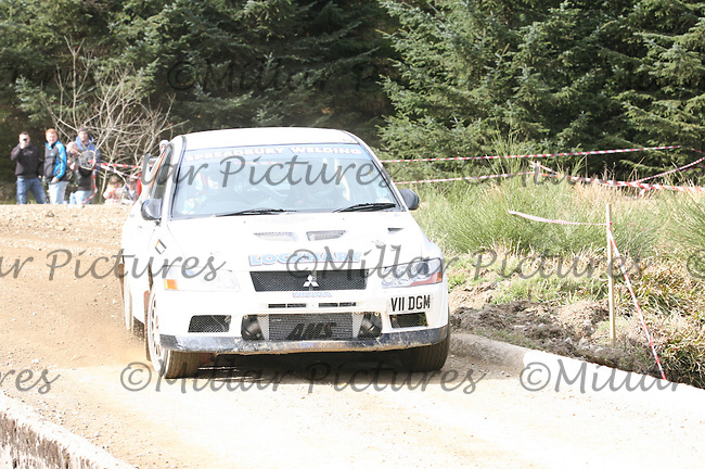 Stephen Lockhart / Kevin Lockhart in a Mitsubishi Evolution 7 at Junction 3 on John Lawrie Group Special Stage 5 Fettersso 2 of the Coltel Granite City Rally 2012 which was based at the Thainstone Agricultural Centre, Inverurie.