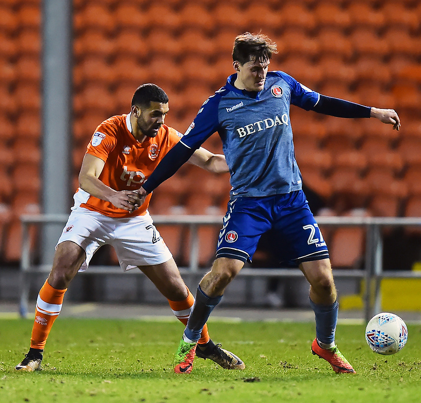 Charlton Athletic's Michael Zyro competes with Blackpool's Colin Daniel<br /> <br /> Photographer Richard Martin-Roberts/CameraSport<br /> <br /> The EFL Sky Bet League One - Blackpool v Charlton Athletic - Tuesday 13th March 2018 - Bloomfield Road - Blackpool<br /> <br /> World Copyright &not;&copy; 2018 CameraSport. All rights reserved. 43 Linden Ave. Countesthorpe. Leicester. England. LE8 5PG - Tel: +44 (0) 116 277 4147 - admin@camerasport.com - www.camerasport.com