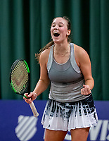 Wateringen, The Netherlands, December 1,  2019, De Rhijenhof , NOJK 12 and16 years, Final girls 16 years: Anouk Koevermans (NED) screems it out  at matchpoint as shee wins<br /> Photo: www.tennisimages.com/Henk Koster