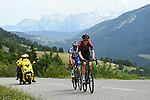 Pavel Sivakov (RUS) Team Ineos and Julian Alaphilippe (FRA) Deceuninck-Quick Step out front on the Col de la Colombière during Stage 5 of Criterium du Dauphine 2020, running 153.5km from Megeve to Megeve, France. 16th August 2020.<br /> Picture: ASO/Alex Broadway | Cyclefile<br /> All photos usage must carry mandatory copyright credit (© Cyclefile | ASO/Alex Broadway)