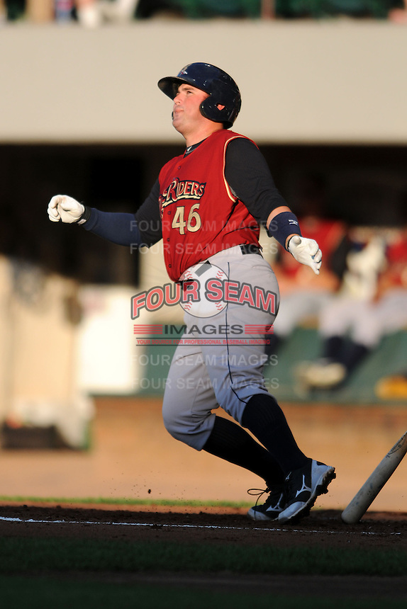 Scranton?Wilkes-Barre RailRiders catcher Bobby Wilson #46  during a game versus the Pawtucket Red Sox at McCoy Stadium on August 25, 2013 in Pawtucket, Rhode Island. (Ken Babbitt/Four Seam Images)