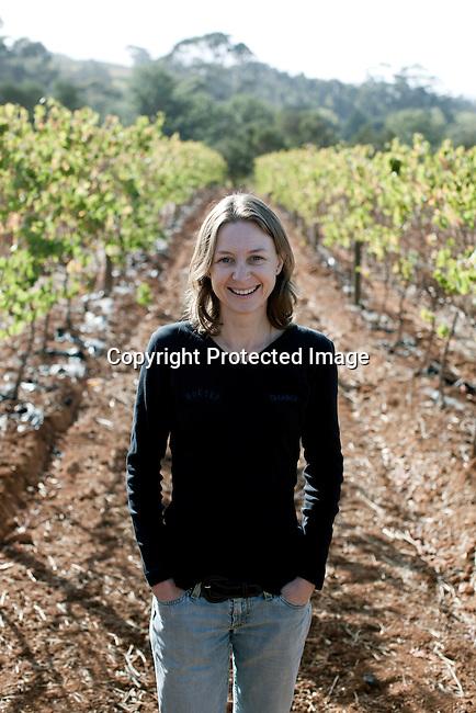 Andrea Freeborough, cellar master pa vingarden Bergkelder i Stellensbosch utanfor Kapstaden, Sydafrika. Foto: Per-Anders Pettersson