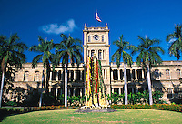 Adorned with flower leis, the King Kamehameha Statue stands in tribute to the once great Hawaiian monarch. The Statue stands before the State Judiciary Building on King st. in downtown Honolulu.
