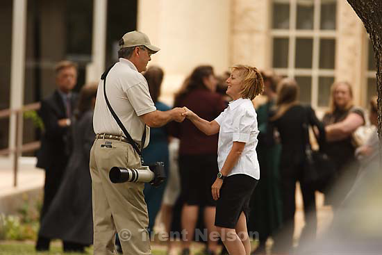 Eldorado - at the Schleicher County Courthouse Wednesday, June 25, 2008, where a grand jury met to hear evidence of possible crimes involving FLDS church members from the YFZ ranch. Andrea Sloan confronts photographer