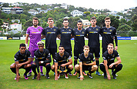 The Team Wellington starting XI before the 2018 OFC Champions League Quarterfinal between Team Wellington and Lae City Dwellers FC at David Farrington Park in Wellington, New Zealand on Saturday, 7 April 2018. Photo: Dave Lintott / lintottphoto.co.nz