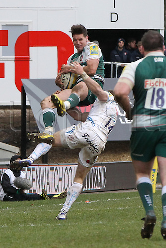 06.03.2016. Welford Road, Leicester, England. Aviva Premiership. Leicester Tigers versus Exeter Chiefs.  Exeter's winger Matt Jess takes out Tigers Freddie Burns in the air to  earn a yellow card.
