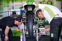 Mechanics in GO&FUN Team box at pre season winter test IRTA Moto3 & Moto2 at Ricardo Tormo circuit in Valencia (Spain), 11-12-13 February 2014