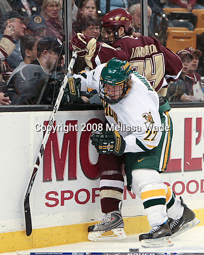 Josh Burrows (Vermont - 22), Matt Lombardi (BC - 24) - The Boston College Eagles defeated the University of Vermont Catamounts 4-0 in the Hockey East championship game on Saturday, March 22, 2008, at TD BankNorth Garden in Boston, Massachusetts.