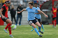 Piscataway, NJ, May 7, 2016. Defender Jaelene Hinkle (15) of the Western New York Flash challenges defender Kelley O'Hara (19) of Sky Blue FC. The Western New York Flash defeated Sky Blue FC, 2-1, in a National Women's Soccer League (NWSL) match at Yurcak Field.