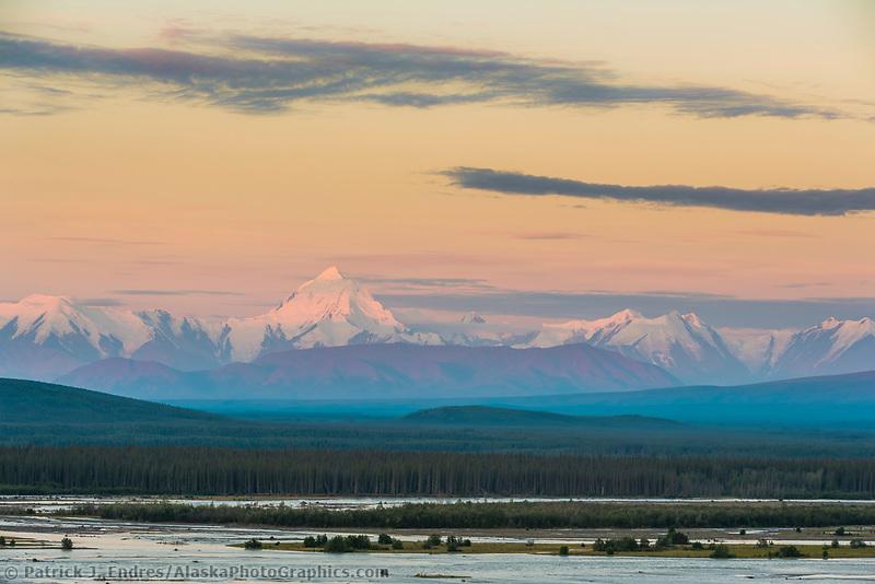Mount Hayes and the Alaska range mountains, Tanana river, near Delta Junction, Alaska