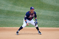 Binghamton Mets second baseman L.J. Mazzilli (7) during a game against the Richmond Flying Squirrels on June 26, 2016 at NYSEG Stadium in Binghamton, New York.  Binghamton defeated Richmond 7-2.  (Mike Janes/Four Seam Images)