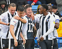 Alex Lacey of Gillingham is mobbed after scoring the second goa during Portsmouth vs Gillingham, Sky Bet EFL League 1 Football at Fratton Park on 6th October 2018