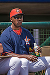 12 March 2014: Houston Astros Manager Bo Porter watches a Spring Training game against the Washington Nationals at Osceola County Stadium in Kissimmee, Florida. The Astros rallied in the bottom of the 9th to edge out the Nationals 10-9 in Grapefruit League play. Mandatory Credit: Ed Wolfstein Photo *** RAW (NEF) Image File Available ***