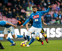 Elseid Hysaj of Napoli  during the  italian serie a soccer match,  SSC Napoli - Frosinone       at  the San  Paolo   stadium in Naples  Italy , December 08, 2018