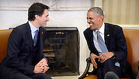 United States President Barack Obama, right, and Prime Minister Justin Trudeau, left, hold a bilateral meeting in the Oval Office of the White House March 10, 2016 following an Official Arrival Ceremony in Washington, D.C. Photo Credit: Olivier Douliery/CNP/AdMedia