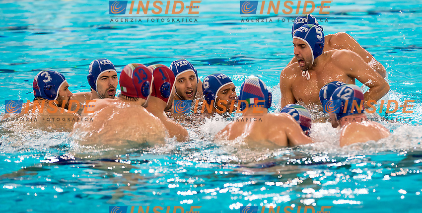 Team ITA<br /> FINA Men's Water Polo Olympic Games Qualifications Tournament 2016<br /> quarter final<br /> Romania ROU (White) Vs Italy ITA (Blue)<br /> Trieste, Italy - Swimming Pool Bruno Bianchi<br /> Day 06  08-04-2016<br /> Photo G.Scala/Insidefoto/Deepbluemedia