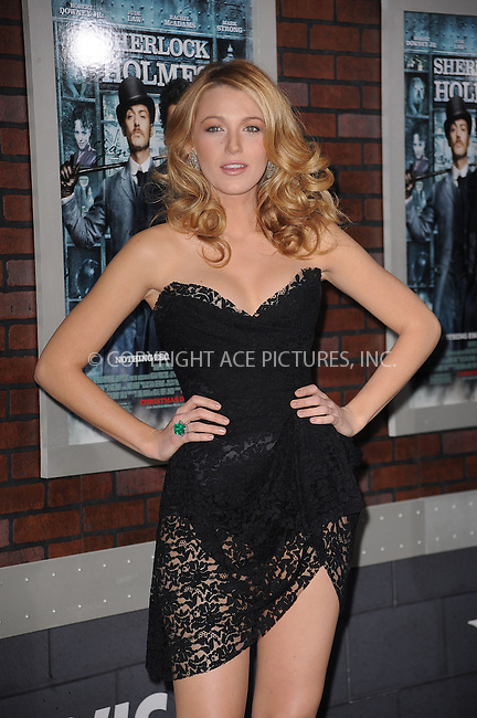 WWW.ACEPIXS.COM . . . . . ....December 17 2009, New York City....Actress Blake Lively arriving at the New York premiere of 'Sherlock Holmes' at the Alice Tully Hall, Lincoln Center on December 17, 2009 in New York City.....Please byline: KRISTIN CALLAHAN - ACEPIXS.COM.. . . . . . ..Ace Pictures, Inc:  ..(212) 243-8787 or (646) 679 0430..e-mail: picturedesk@acepixs.com..web: http://www.acepixs.com